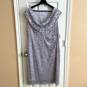 Dressbarn Silver Sequin Sleeveless Dress sz 16 NWT